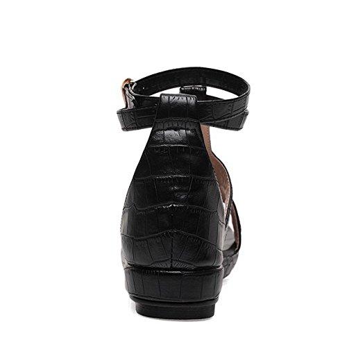 Hebilla Negro Mini Sólido Tacón Dividida Sandalia Cuero AllhqFashion Mujeres Puntera tUqwpp7