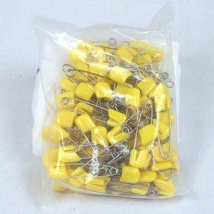 100 Pack Yellow Plastic Headed Diaper Pins