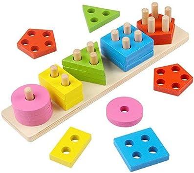 Jouet Enfant 2 Ans Geometriques En Bois Montessori Puzzles Pour Bebe Amazon Fr Jeux Et Jouets