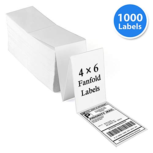Thermal Transfer Labels Fan - Fanfold 4x6 Direct Thermal Labels, Perforated, 1000 Labels, White Mailing Postage Address Labels, Compatible with Zebra 2844, Permanent Adhesive, Commercial Grade