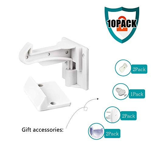 10 Cabinet Lock Children - Baby Drawer Lock and Reinforcement Spring (4 Corner Protector + 2 Double Hole Socket Cover + 3 Three-Hole Socket Cover) ()