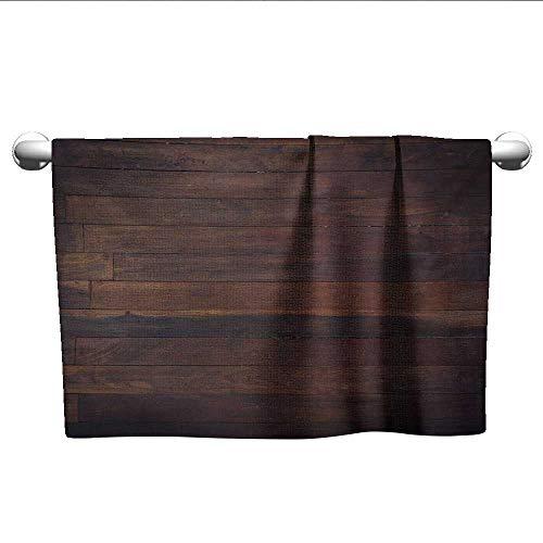 alisoso Chocolate,Hair Towel Aged Weathered Dark Timber Oak Wooden Planks Floor Image Country Life Carpentry Pool Gym Towels Dark Brown W 24