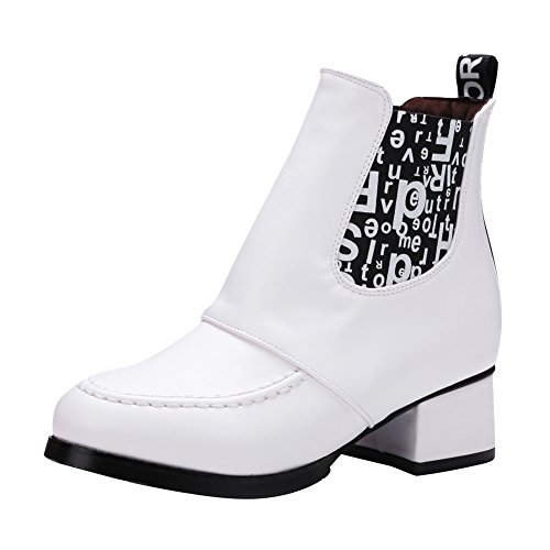 Latasa Womens Fashion Letters Printed Chunky Heels Ankle Chelsea Boots White GLE7WkSTWD