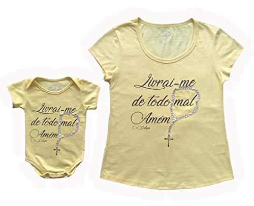 T-Shirt Adulta Feminina E Body De Bebê Livrai-Me Do Mal (Adulto M - Body G, Amarelo)