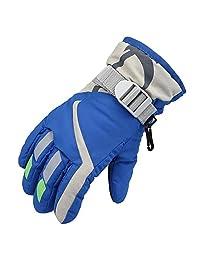 Janedream Kids Ski Winter Snow Gloves Warm Waterproof Children Windproof Thickening Gloves for Girls Boys Blue