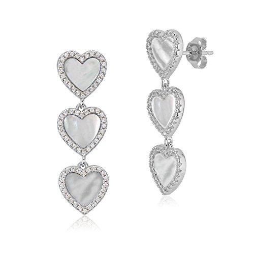 MASSETE Sterling Silver 925 CZ Mother of Pearl Triple Heart Long Dangle Post Earrings