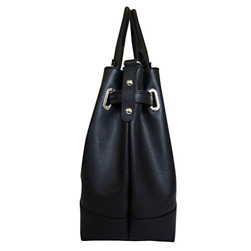 Designer Carbotti argento italiano in pelle catena hobo borsa - nero