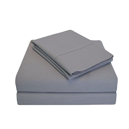 Percale 300 Thread Count 100% Cotton, Deep Pocket, 4-Piece Queen Bed Sheet Set, Solid, Grey