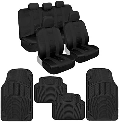 BDK AutoSport Full Set Combo All Protective Seat Covers (2 Front 1 Bench) with Universal Heavy-Duty All-Weather Trim to Fit Rubber Floor Mats (4 Mats) for Car Auto Sedan Truck SUV Minivan