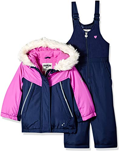 OshKosh B'Gosh Girls' Little Ski Jacket and Snowbib Snowsuit Outfit Set, Bright Violet/deep Night, 4