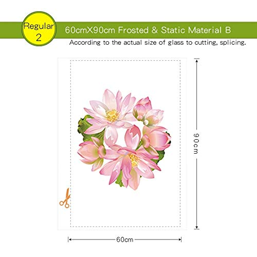 Pechalar - Lotus Stained Window Film Flowers Frosted Opaque Privacy Glass Sticker for Home Decor Digital Print