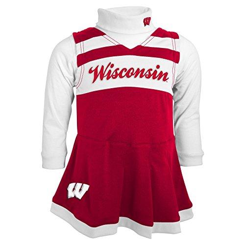OuterStuff NCAA Wisconsin Badgers Toddler Turtleneck Cheer Jumper Dress, 2 Tall, Dark Red