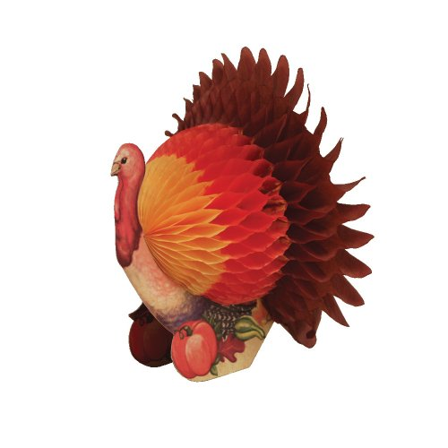 Creative Converting Tall Honeycomb Tissue Thanksgiving Turkey Centerpiece, 6-Inch