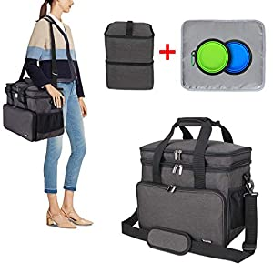 Teamoy Double Layer Dog Travel Bag with 2 Silicone Collapsible Bowls, 2 Food Carriers, 1 Water-Resistant Placemat, Pet Supplies Weekend Tote Organizer 48