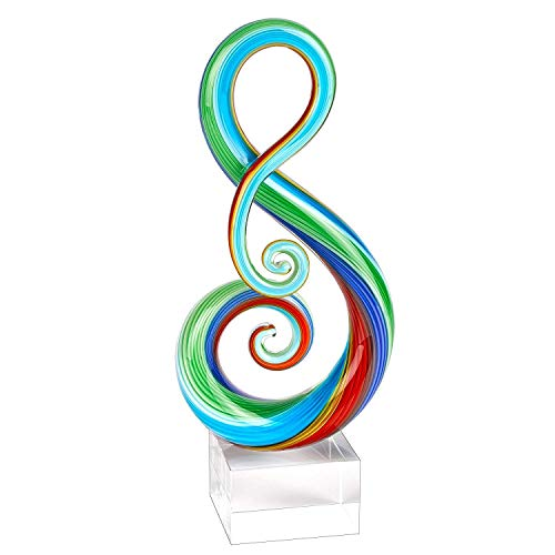 """The Note"" - Murano Style Art Glass Sculpture - Home Decor Accent Piece - Contemporary Handcrafted Design Over 12"" on Crystal Engravable Base - Badash Crystal"