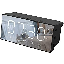 Pumouga Bluetooth Speaker Radio Alarm Clock Radio for Bedrooms, Digital Alarm Clock Dual Alarms, Alarm Clock Radio Large Display with Bluetooth Speaker
