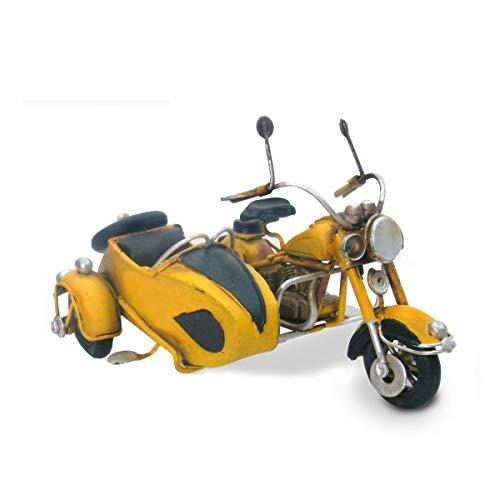 G&S Moto Side-Car ré tro en Laiton, Modè le Jaune, L 11 cm Modèle Jaune SG