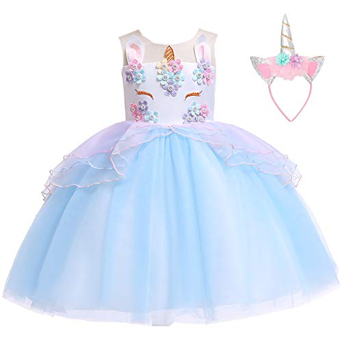 Flower Girls Unicorn Costume Kids Pageant Princess Party Dress with Headband for 2-8Years (4-5 Years, Blue) -