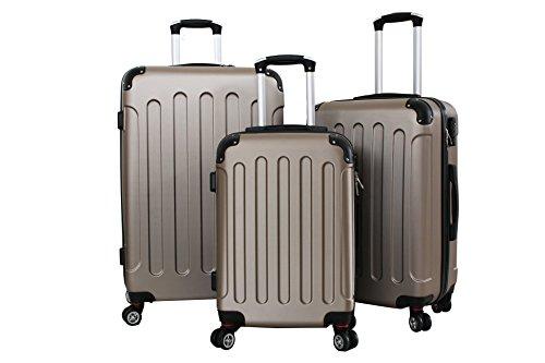 Set di tre Trolley Almatà 4 ruote gemellari con chiusura a combinazione e bagaglio a mano misure IATA (accettata da tutte le compagnie) Gold