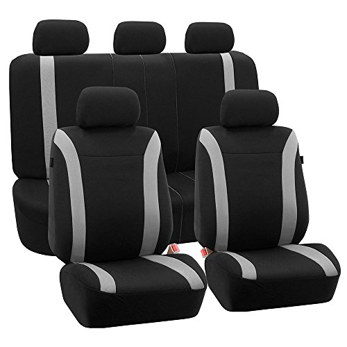 (FH Group FH-FB054115 Gray Cosmopolitan Flat Cloth Seat Covers, Airbag Compatible and Split Bench, Gray/Black Color-Fit Most Car, Truck, SUV, or Van)