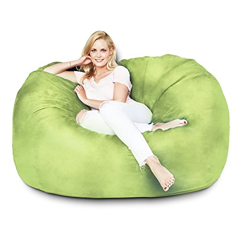 Lumaland Luxury 5-Foot Bean Bag Chair with Microsuede Cover Light Green, Machine Washable Big Size Sofa and Giant Lounger Furniture for Kids, Teens and Adults