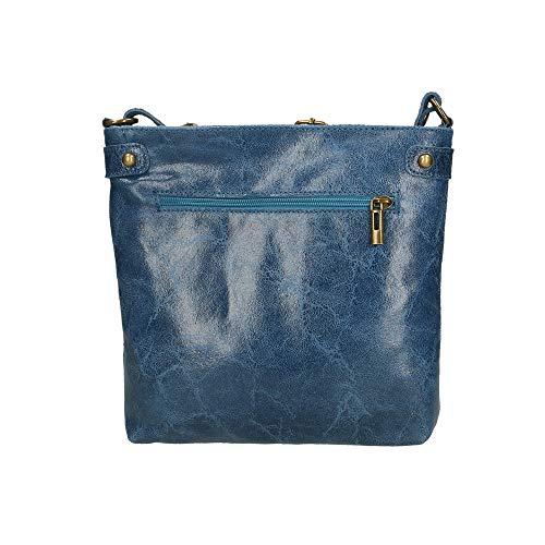 À Véritable In Bandoulière Borse 25x24x5 Italy En Cm Chicca Jeans Blue Made Sac Cuir cqSZ11F4