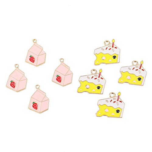 (Monrocco 20Pcs Cute Enamel Charms Pendants Pink Strawberry Yogurt Box Yellow Cream Cakes Bracelet Charms Pendants for Jewelry Making)