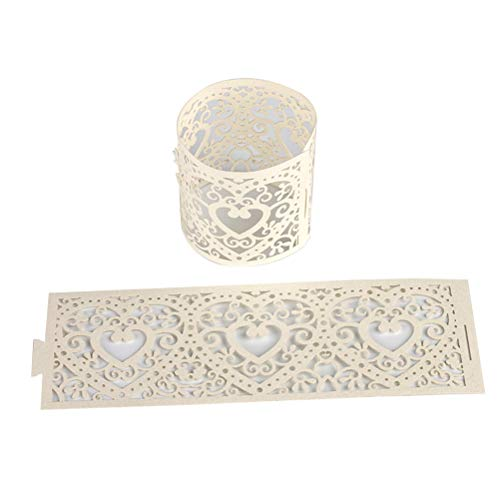 VORCOOL 50pcs Hollow Out Candle Wrappers Decor Candle Shade Tea Light Holder Paper Candle Decoration for Wedding Birthday Party Baby Shower (Beige)