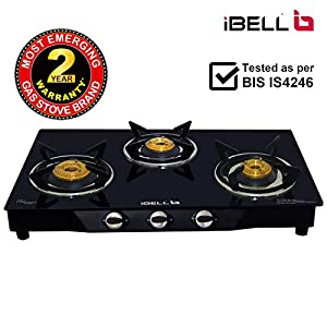 iBELL Mecano 03B Glass Top Gas Stove, 3 Burner, Black
