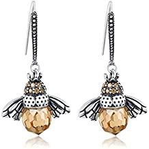 BAMOER 925 Sterling Silver Cute Bee Drop Earrings and Necklace Pendant Charm for Women Teen Girls Bee Jewelry Set Perfect Christmas Gifts