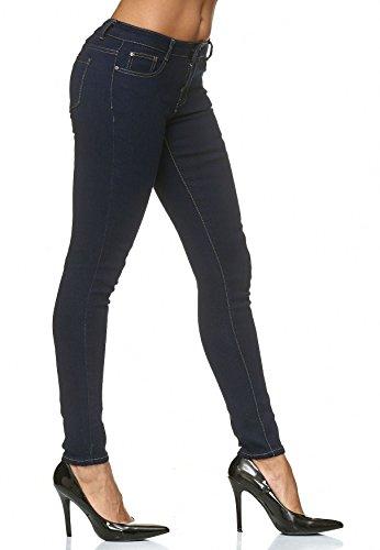 Jeans skinny Bleu Contraste D2225 Fonc Couture Pantalon Femmes Stretch vwvgz