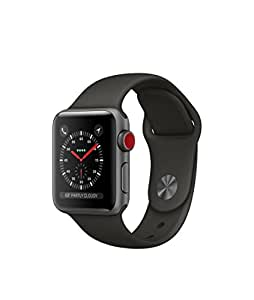 Apple watch series 3 Aluminum case Sport 38mm GPS + Cellular GSM unlocked (Space gray Al case w/ gray sport band)
