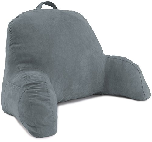 Deluxe Comfort Microsuede Bed Rest - Backrest Pillow with Arms - Bed Rest Pillow - Reading Bedrest...