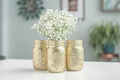 Gold Glitter Mason Jar Vases, Wedding Centerpieces, Bridal Shower -