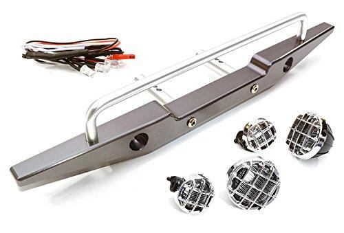 Integy Alloy Rear Bumper (Integy RC Model Hop-ups C26764GUN Realistic 1/10 Rear Bumper & Roof Top LED Lights for SCX-10 43mm Mount)