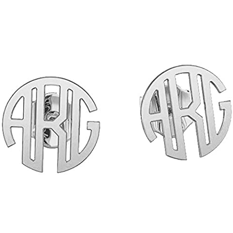 Ouslier Personalized 925 Sterling Silver Monogram Stud Earrings Custom Made with 3 Initials (Behringer In Ear Monitor System)
