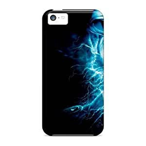 Slim Fit Tpu Protector Shock Absorbent Bumper Electricity Skull Case For Iphone 5c