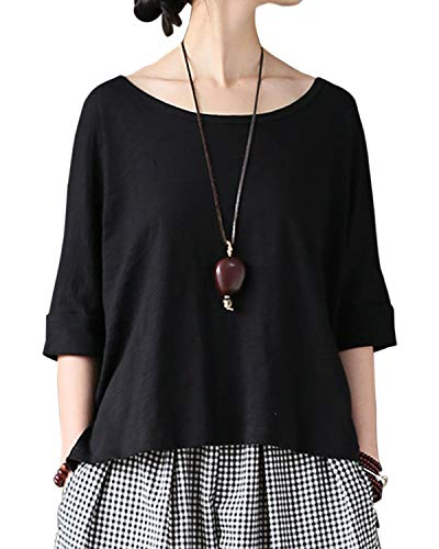 - Aeneontrue Women's Casual Short Sleeve T-Shirts High Low Tees 100% Bamboo Cotton Tops Blouses Large Black
