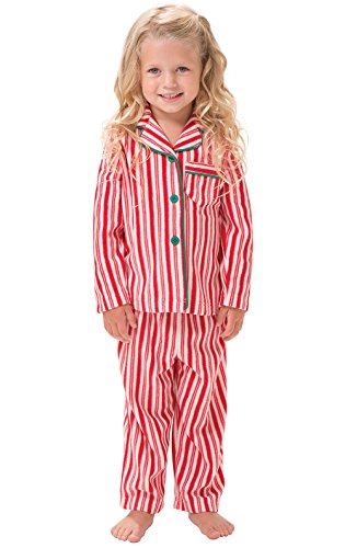 PajamaGram Candy Cane Fleece Button-Front Pajamas in Red/White Stripes, (Candy Cane Pajamas)