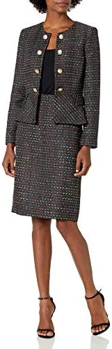 Tahari By ASL Womens Faux Double Breasted Peplum Jacket and Skirt Set Suit - Skirt Set