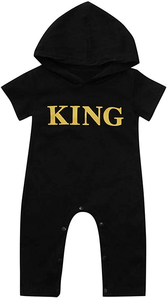 XEDUO Toddler Kids Baby Boys Girls King Hoodie Romper Jumpsuit Playsuit Clothes