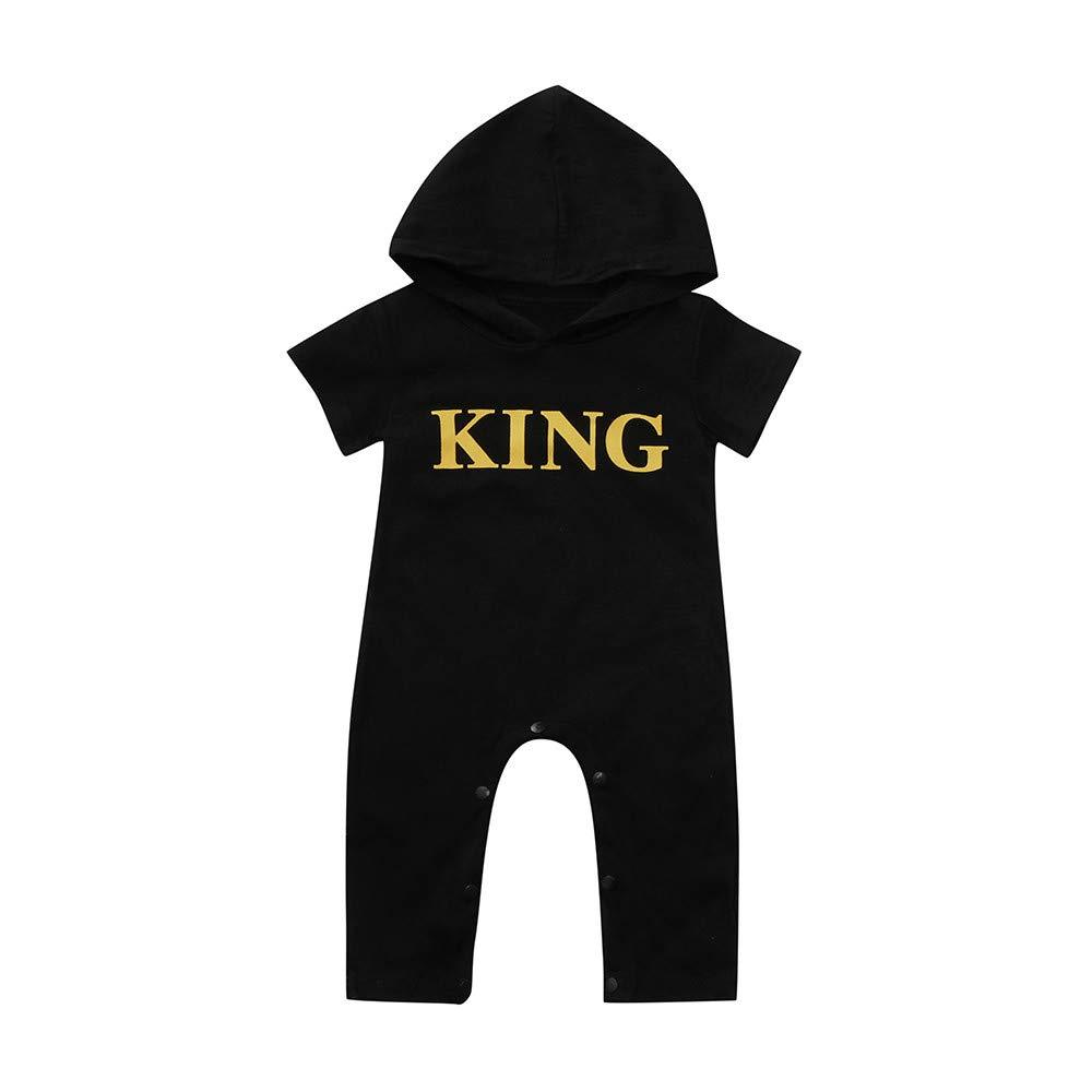 Selou Neugeborenes Baby Brief Overall Schwarzer schwarzer Hoodie des Babys Babykleidung Overall Kinderanzug Sweatshirt Lange Ärmel Hemd grundiert Pyjamas Kletteranzug