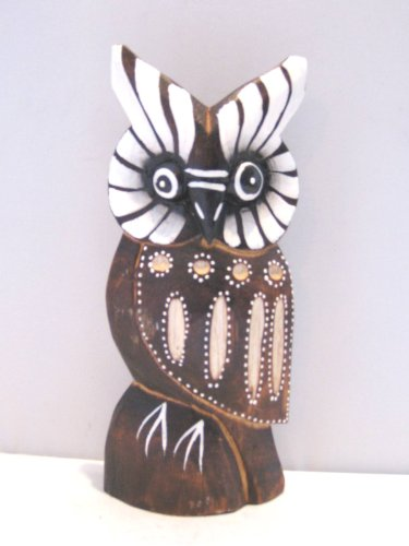 Wooden Owl Hand Carved and Hand Painted Wood Bali Home Decor Sculpture #2001