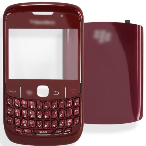 [DARK RED] Housing Case Bezel Faceplate Panel Fascia Plate Frame+QWERTY Keyboard+Keypad Button Buttons Key Keys+Battery Back Cover Door+Len Lens FOR BlackBerry Curve 8520