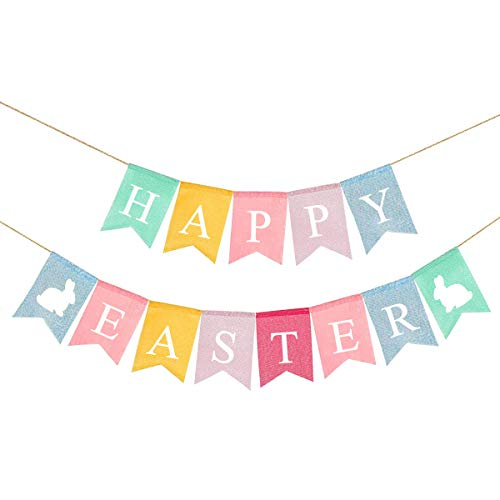 Amosfun Happy Easter Banner Burlap Bunting Banner Flag Hanging Decorative Swallow Tail Banner Festival Easter Party Supplies