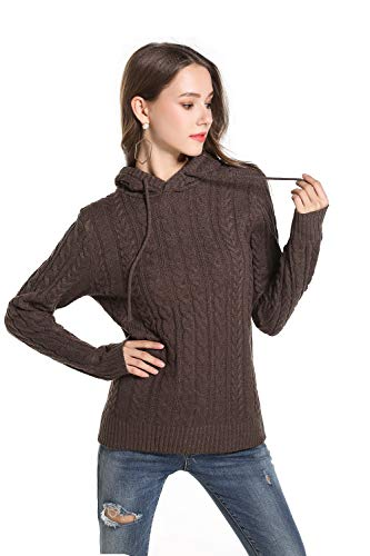 Guozi Women's Cashmere Knitted Long Sleeves Hoodie Cable Ribbed Chunky Knit Pullover Solid Color Jumper Sweater Tunic Sweatshirts (Dark Brown, Medium)