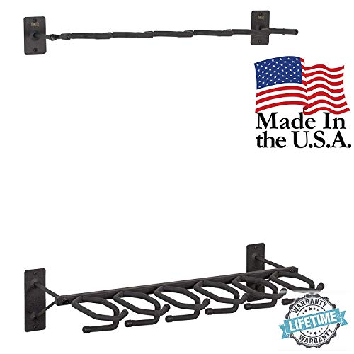 Wall Mounted Gun Rack - Hold Up Displays - Gun Rack and Rifle Storage Holds 6 Winchester Remington Ruger Firearms and More - Heavy Duty Steel - Made in USA