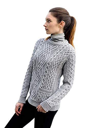 West End Knitwear Aran Crafts Irish Cable Knit Crew Neck Merino Wool Sweater with Pockets (Grey, Medium) ()