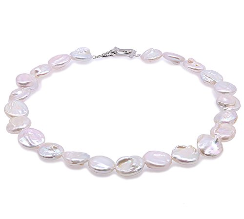 JYX Triple-strand 7x9mm White Oval Cultured Freshwater Pearl Necklace