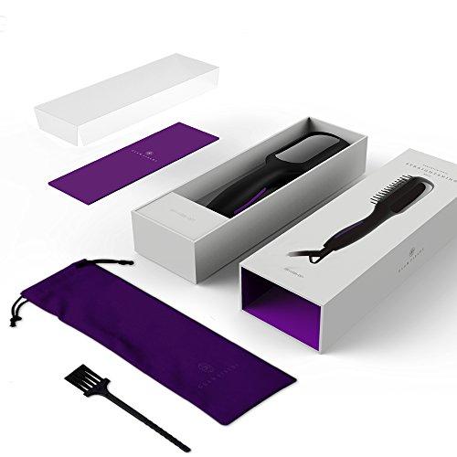 Hair Straightening Brush, GLAMFIELDS Electrical Heated Brush Irons Hair Straightener packing and acessories